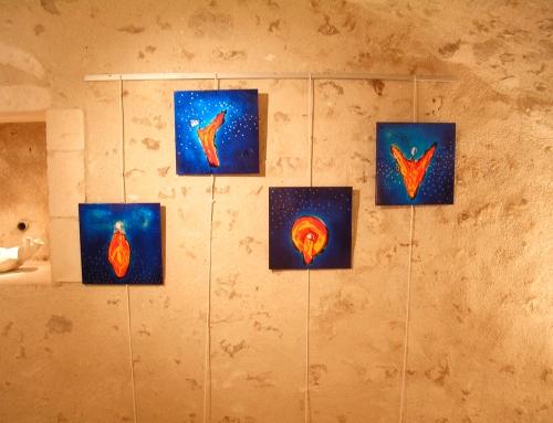 Laques bleues quadriptyque