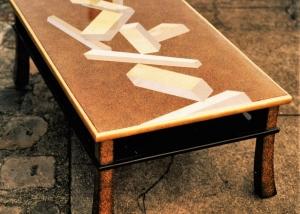 Table XVIII ème japonais Laque, ors blanc, jaune, rouge, vert, palladium et platine